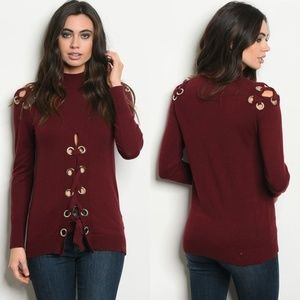 0628a12605 Sweaters - Edgy wine mock neck lace up sweater
